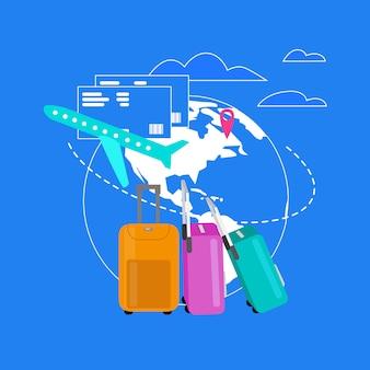 Concepto de vector plano de servicios de la compañía aérea