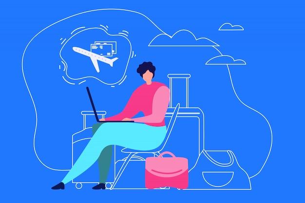 Concepto de vector plano de viaje de vacaciones de planificación