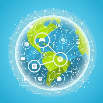 Concepto de vector de red de medios sociales. esquema de comunicación abstracta en la tierra.