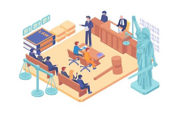 Concepto de vector de sala de tribunal de justicia isométrica