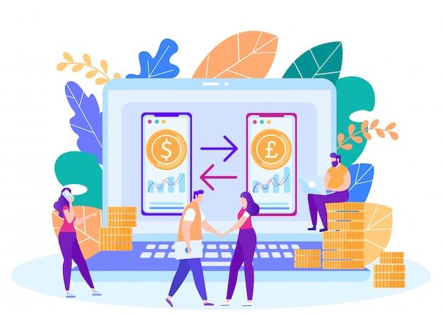 Concepto de vector de servicio de cambio de moneda en línea