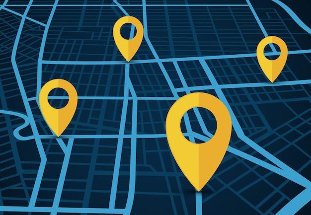 Concepto de vector de servicio de navegación gps. mapa 3d con punteros de localización.
