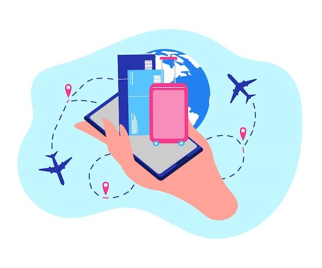 Concepto de vector de servicios en línea de la compañía aérea