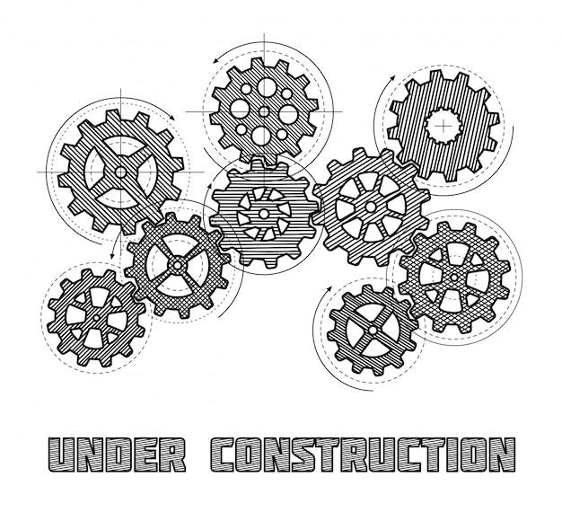 Bajo concepto del vector del sitio web de la construcción con los engranajes dibujados mano. banner en construcción con ilustración de rueda dentada boceto