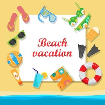 Concepto de vector de vacaciones en la playa en diseño de estilo plano
