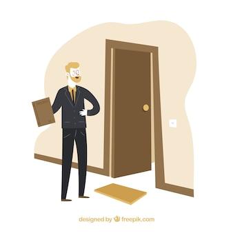 Concepto de vendedor con puerta