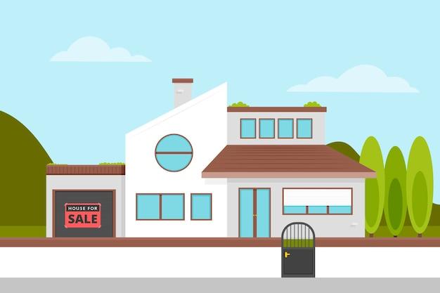 Concepto de venta y alquiler de casa moderna vista frontal