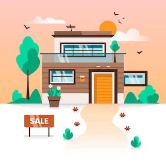 Concepto de venta y alquiler de mansión de lujo
