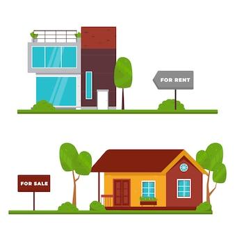 Concepto de venta y alquiler moderno y tradicional.