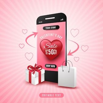 Concepto de venta de compras en línea del día de san valentín en la aplicación móvil