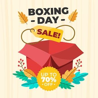 Concepto de venta de día de boxeo dibujado a mano