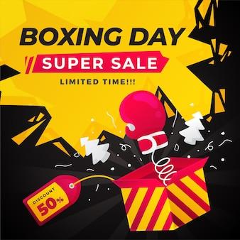 Concepto de venta de día de boxeo de diseño plano