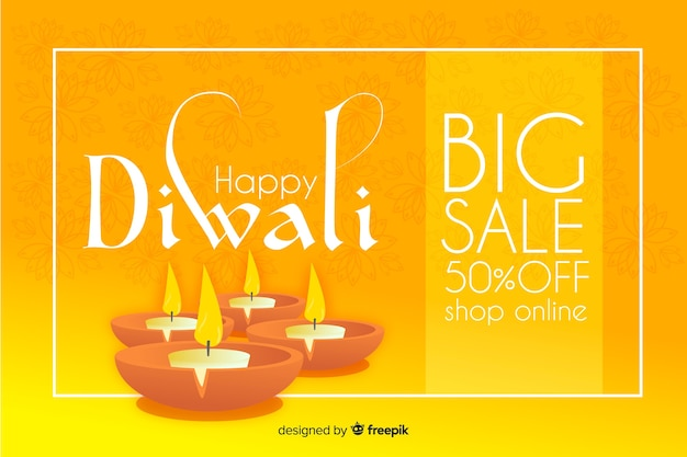 Concepto de venta de diwali en diseño plano