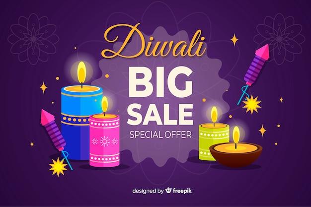 Concepto de venta de diwali con fondo de diseño plano
