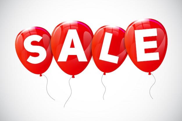 Concepto de venta de globos brillantes de descuento