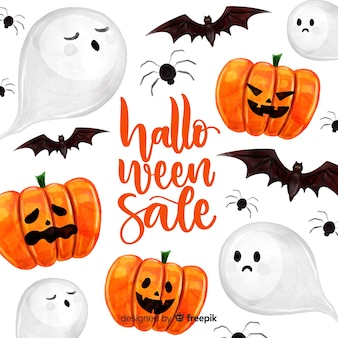 Concepto de venta de halloween en acuarela