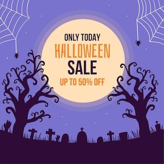 Concepto de venta de halloween dibujado a mano