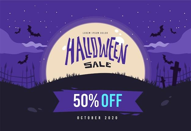 Concepto de venta de halloween de diseño plano