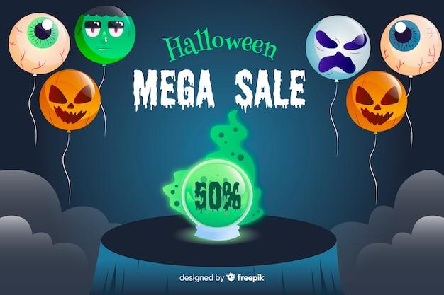 Concepto de venta de halloween con fondo de diseño plano