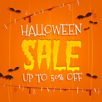 Concepto de venta de halloween plana