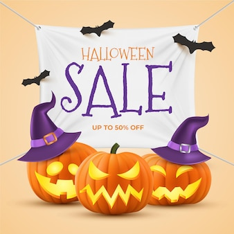 Concepto de venta de halloween realista