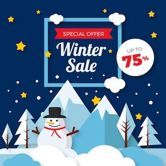 Concepto de venta de invierno de diseño plano