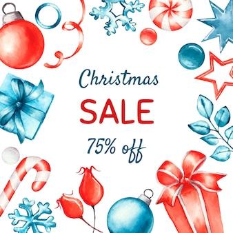 Concepto de venta de navidad en acuarela
