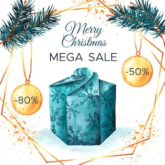 Concepto de venta de navidad acuarela