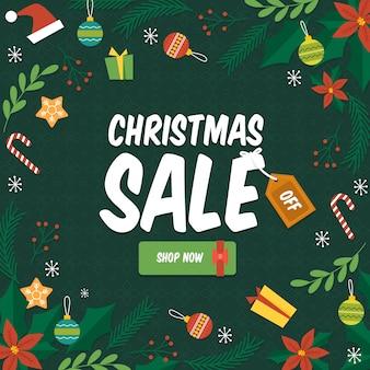 Concepto de venta de navidad dibujado a mano