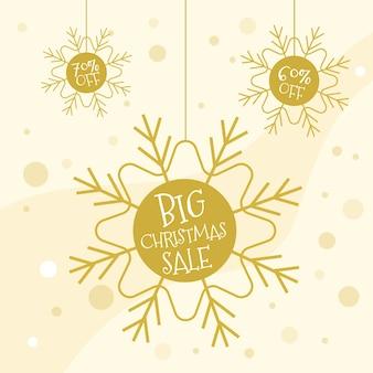 Concepto de venta de navidad con diseño dorado.