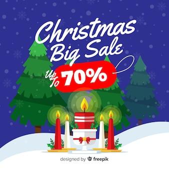 Concepto de venta de navidad de diseño plano