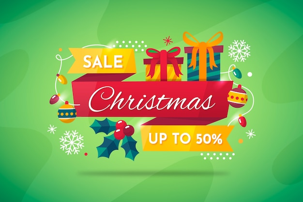 Concepto de venta de navidad en diseño plano