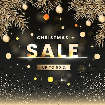 Concepto de venta de navidad dorada