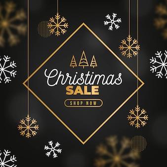 Concepto de venta de navidad con fondo dorado