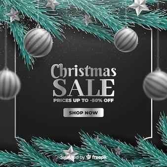 Concepto de venta de navidad con fondo realista
