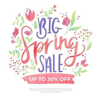 Concepto de venta de primavera acuarela