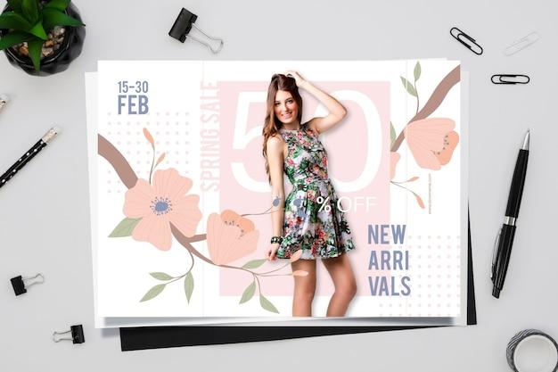 Concepto de venta de primavera con calendario