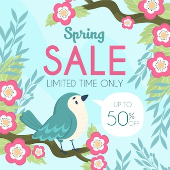 Concepto de venta de primavera dibujado a mano