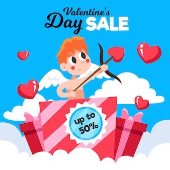 Concepto de venta promocional del día de san valentín