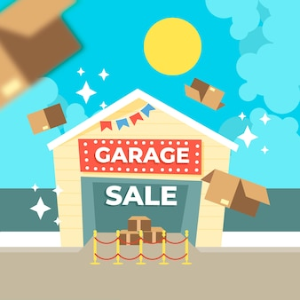 Concepto de venta promocional de garaje