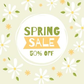 Concepto de venta promocional de primavera de diseño plano