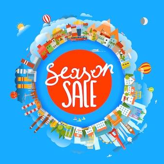 Concepto de venta de temporada, la tierra y diferentes lugares,