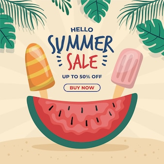 Concepto de venta de verano dibujado a mano