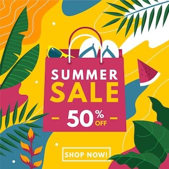 Concepto de venta de verano de diseño plano