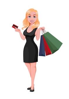 Concepto de venta de viernes negro. mujer hermosa