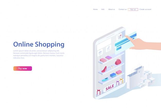 Concepto de ventas, compras. personas que compran en la tienda en línea con un teléfono inteligente y una tarjeta bancaria. página web o folleto, ilustración vectorial 3d en diseño plano isométrico.