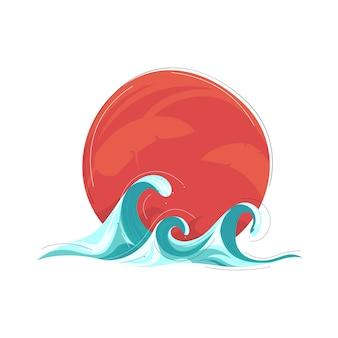 Concepto de verano, fondo de olas