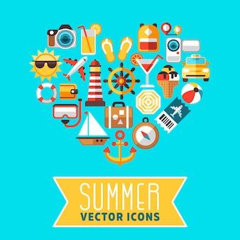 Concepto de verano con iconos de vector de playa plana en forma de corazón. icono para viajes de verano, ilustración de s