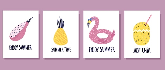 Concepto de verano. lindas tarjetas de verano de cuatro piezas.