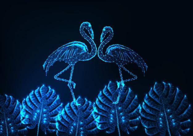 Concepto de verano tropical con par de polietileno bajo brillante de flamencos y hojas de monstera en azul oscuro.